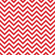 Seamless Abstract Pattern With Red Zigzag Lines On White Background.