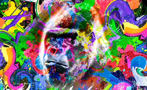 close up of a color background and white gorilla - fototapety na wymiar