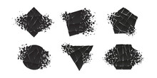Shape Shattered And Explodes Flat Style Design Vector Illustration Set Isolated On White Background. Triangle, Hexagon, Square, Pentagon And Rhombus Shapes In Grayscale Gradient Exploding Collection