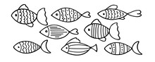 Set Of Vector Stylized Fishes. Collection Of Aquarium Fish. Linear Art. Illustration For Children. Sketch Of Fish Vector Icons Isolated On White Background. Set Of Varieties Cartoon Fishes