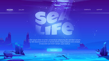Sea Life Cartoon Landing Page With Ocean Underwater Background. Empty Sandy Bottom With Rocks And Air Bubbles Floating At Sunlight Beam Falling From Above. Marine Undersea Area Vector Web Banner