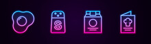 Set Line Scrambled Eggs, Salt, Online Ordering And Delivery And Cookbook. Glowing Neon Icon. Vector