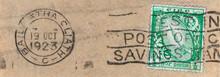Briefmarke Stamp Gestempelt Used Frankiert Cancel Vintage Retro Alt Old Papier Paper Slogan Irland Ireland Eire 1923 Oktober Dublin Schwert Sword Grün Green Werbung Invest Post Office Savings Dreckig