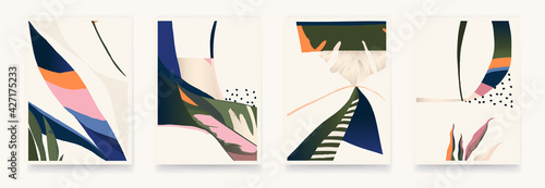 Canvastavla Set of colorful abstract botanical illustrations