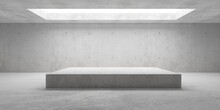 Empty Modern Abstract Concrete Room With Elevated Cubical Platform In The Center And Opening In The Ceiling, Product Presentation Template Background