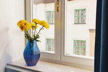 Bright Yellow Flowers In A Glass Blue Vase