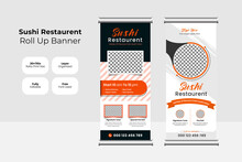 Food And Restaurant Roll Up Banner Design Template Set Vector | Sushi Food & Restaurant Roll Up Banner Concept | Vertical Display Trend Roll Up And X-banner Set For Exhibitions, Banner For The Hotel.