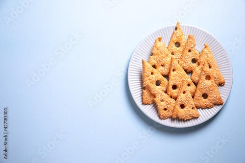 Fototapeta Parmesan savory cookies with rosemary