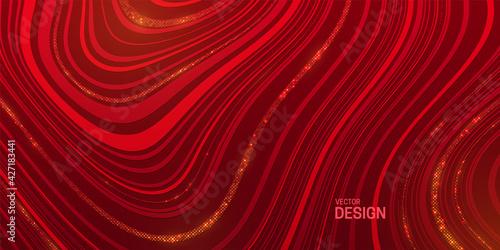 Slika na platnu Red striped texture with golden glitters.