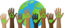 Earth Day.April 22.Banner Earth Day With A Planet,hands,environment Logo.Human Hands Protect Our Earth.Save The Planet.Vector Background.World Saving,protection Family And Environment Concept.Globe.