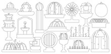 Fountain Isolated Outline Set Icon. Vector Illustration Waterfall On White Background. Vector Outline Set Icon Fountain.