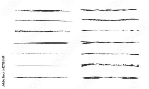 Fototapeta Set of artistic pen brushes.Doodles, ink brushes.Set of vector grunge brushes. Collection of strokes of markers. Set of wavy horizontal lines obraz