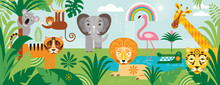 Exotic Animals In Tropical Forest , Rainforest. Inhabitants Of African Jungle.  Flora And Fauna. Cartoon Vector Illustration, Horizontal Banner. Palm Leaves, Thickets. Panoramic View