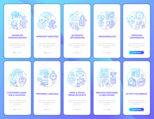 Smart Content Navy Onboarding Mobile App Page Screen With Concepts Set. Targeting Strategies Walkthrough 5 Steps Graphic Instructions. UI, UX, GUI Vector Template With Linear Color Illustrations