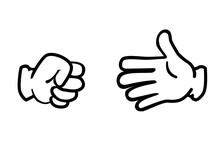 アメリカン・コミック風の手のイラスト ジャンケンのポーズ グーとパー 白バック rock-paper-scissors