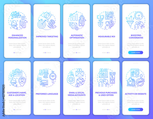 Photo Smart content navy onboarding mobile app page screen with concepts set
