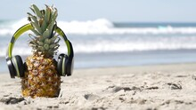 Funny Pineapple In Headphones, Sandy Ocean Beach, Blue Sea Water Waves, California Pacific Coast, USA. Tropical Summer Exotic Fruit Enjoying Vacations And Music In Paradise. Ananas Sunbathing On Shore