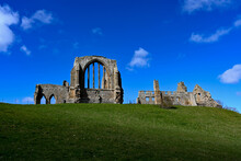 Egglestone Abbey Against A Cloudy Blue Sky