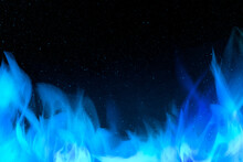3D Burning Blue Fire Flame Border