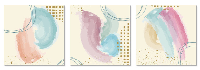 Watercolor background set with abstract shapes. Modern painting with brush texture, pastel colors and golden splashes. Art design for social media post, poster, card, cover. Vector illustration.