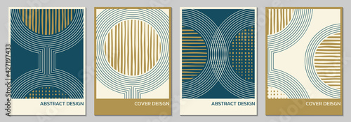 Obraz Abstract cover, poster, brochure design set with geometric background. Minimal art design with circles and lines. Vector illustration. - fototapety do salonu