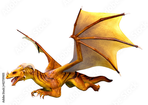 Photo 3D Rendering Fairy Tale Dragon on White
