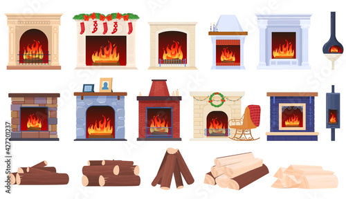 Slika na platnu Set home fireplaces, wood cozy fire in house, decorative ornament, design cartoon style vector illustration, isolated on white