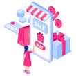 Online shopping concept. Girl in front of smartphone screen with gift box, credit card, coins, bag.For web banners, infographics. Flat isometric vector illustration isolated on white background.