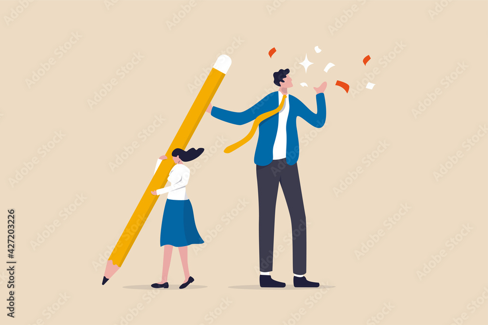 Fototapeta Coworker or boss takes credit of your work, dishonesty, stealing idea or plagiarism concept, young pity woman working hard holding big pencil with bigger businessman liar get reward from her work.