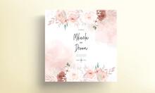 Beautiful Hand Drawn Brown Floral Wedding Invitation Card Design