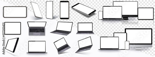 Obraz Mock-ups gadgets collection Smartphone,Pc, Tablet, Laptop, blank screen for your design. Side and top, isometric view. Mockup generic device. Template for infographics or presentation ui, ux. - fototapety do salonu
