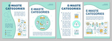 Electronic Waste Types Brochure Template. Used Household Appliances. Flyer, Booklet, Leaflet Print, Cover Design With Linear Icons. Vector Layouts For Presentation, Annual Reports, Advertisement Pages