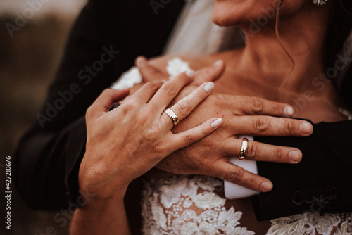 Canvas hands of bride and groom