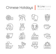 Chinese Holidays Linear Icons Set. Mooncakes. Red-crowned Crane. Chinese New Year. Lantern Festival. Customizable Thin Line Contour Symbols. Isolated Vector Outline Illustrations. Editable Stroke
