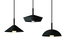 A Set Of Three Black Wide Metal Minimalist Pendant Lights In Japandi Or Scandinavian Style. Vector Stock Flat Illustration Isolated On A White Background.
