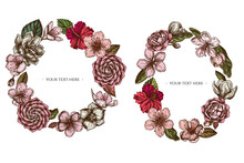 Floral Wreath Of Colored Hibiscus, Plum Flowers, Peach Flowers, Sakura Flowers, Magnolia Flowers, Camellia Japonica