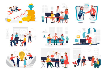 Vector set of team of workers in process of creating something, discussing idea with chief, celebrating and winning price, working with laptop, drawing scheme and presenting work