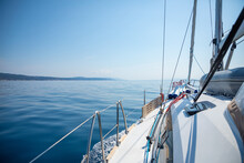 Sailing Luxury Yacht In The Sea At Sunny Day, Croatia