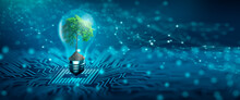 Tree With Soil Growing On  Light Bulb. Digital Convergence And And Technology Convergence. Blue Light And Network Background. Green Computing, Green Technology, Green IT, Csr, And IT Ethics Concept.
