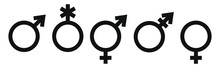 A Set Of Gender Identity Symbols. The Sign Of A Woman, A Man, A Non-binary Gender Identity, Androgynous And Intersex, Transgender. Vector Stock Black Icons Isolated On A White Background.