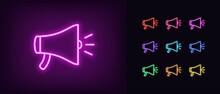 Neon Loudspeaker Icon. Glowing Neon Speaker Sign, Outline Megaphone Pictogram