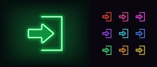 Neon Login Icon. Glowing Neon Join Sign, Outline User Entry Pictogram