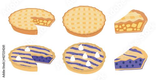 Piece of pie set Illustration vector flat cartoon isolated on white background. Pie Icon Set