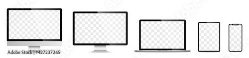 Obraz Device screen set - laptop smartphone tablet computer monitor. Vector - fototapety do salonu
