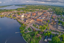 Aerial View Of Downtown Albert Lea, Minnesota At Dusk In Summer