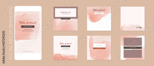 Obraz minimal abstract Instagram social media story post feed background, web banner template. pink nude pastel watercolor vector texture frame mock up. for beauty, jewelry, cosmetics, care, wedding, makeup - fototapety do salonu