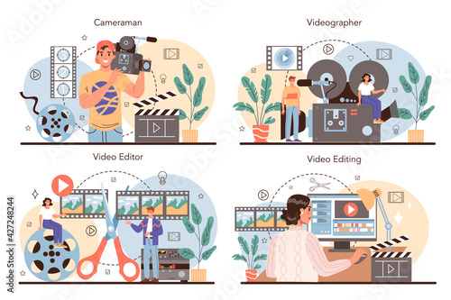 Videographer concept set. Video production, filming and editing.