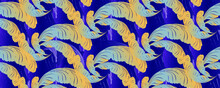Feathers On A Blue Background. Bright Mottled Horizontal Pattern. Paisley. Site Header. Chinese Brocade.