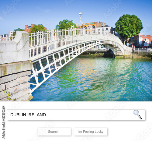 Fototapeta The most famous bridge in Dublin called Half penny bridge - Concept image with D
