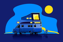 Bundle Of Camping Car In Cartoon Style Vector
